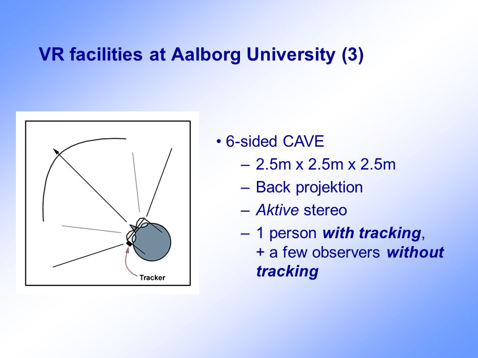 VR facilities at Aalborg University (3) 6-sided CAVE –2.5m x 2.5m x 2.5m –Back projektion –Aktive stereo –1 person with tracking, + a few observers wi