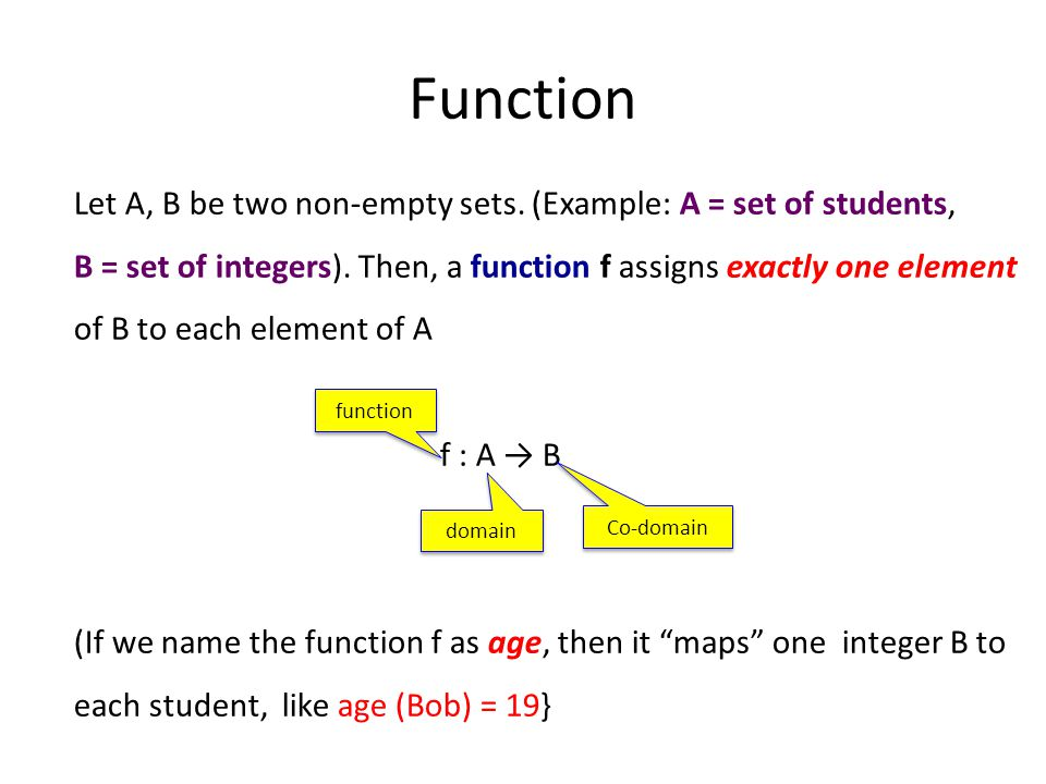 Function Let A, B be two non-empty sets. (Example: A = set of students, B = set of integers).