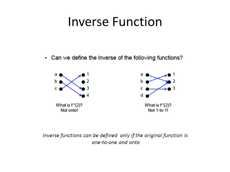Inverse functions can be defined only if the original function is one-to-one and onto
