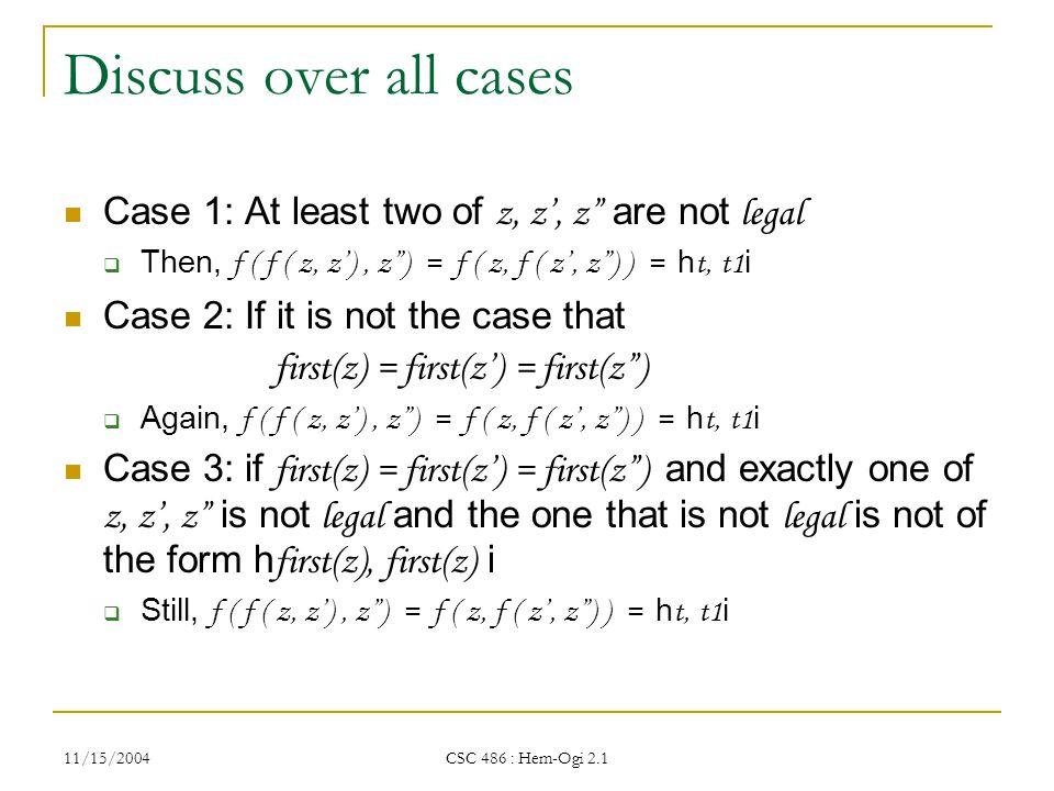 11/15/2004 CSC 486 : Hem-Ogi 2.1 Discuss over all cases Case 1: At least two of z, z', z are not legal  Then, f ( f ( z, z'), z ) = f ( z, f ( z', z ) ) = h t, t1 i Case 2: If it is not the case that first(z) = first(z') = first(z )  Again, f ( f ( z, z'), z ) = f ( z, f ( z', z ) ) = h t, t1 i Case 3: if first(z) = first(z') = first(z ) and exactly one of z, z', z is not legal and the one that is not legal is not of the form h first(z), first(z) i  Still, f ( f ( z, z'), z ) = f ( z, f ( z', z ) ) = h t, t1 i