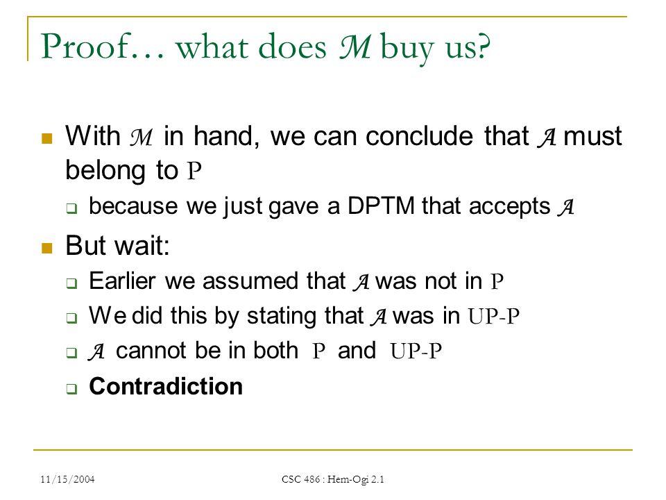 11/15/2004 CSC 486 : Hem-Ogi 2.1 Proof… what does M buy us.