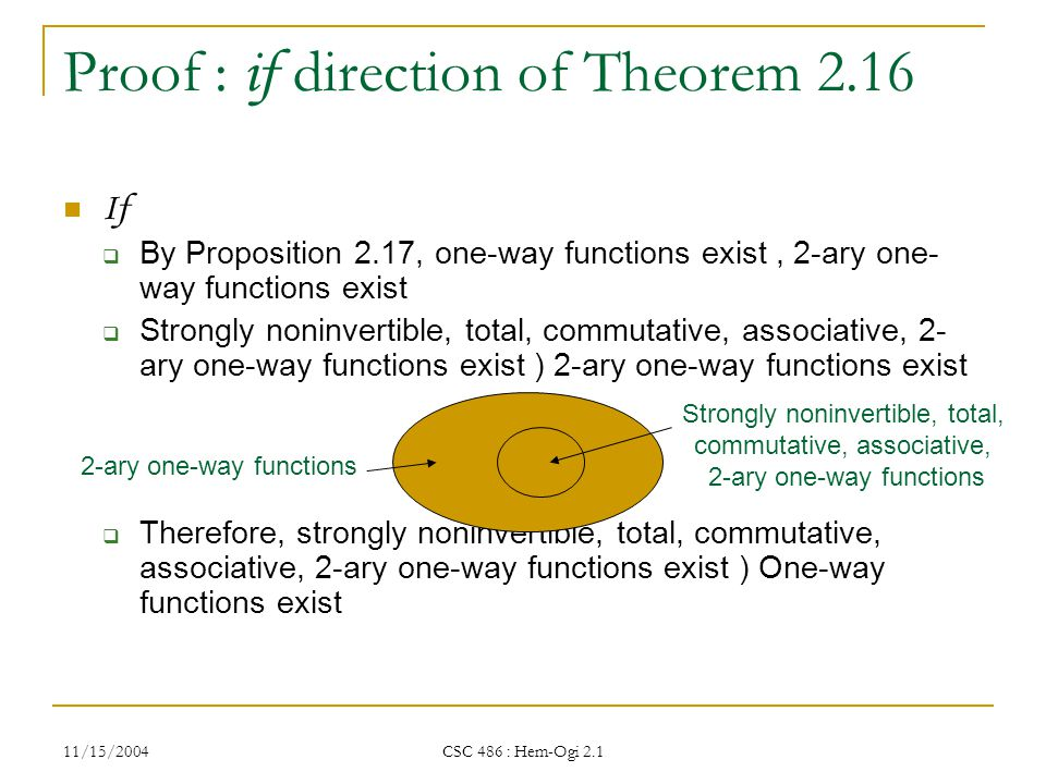 11/15/2004 CSC 486 : Hem-Ogi 2.1 Proof : if direction of Theorem 2.16 If  By Proposition 2.17, one-way functions exist, 2-ary one- way functions exist  Strongly noninvertible, total, commutative, associative, 2- ary one-way functions exist ) 2-ary one-way functions exist  Therefore, strongly noninvertible, total, commutative, associative, 2-ary one-way functions exist ) One-way functions exist Strongly noninvertible, total, commutative, associative, 2-ary one-way functions