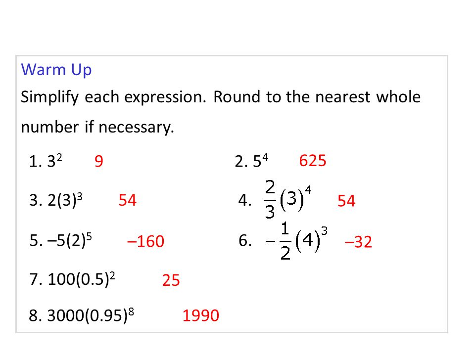 Example 2B: Identifying an Exponential Function Tell whether each set of ordered pairs satisfies an exponential function.