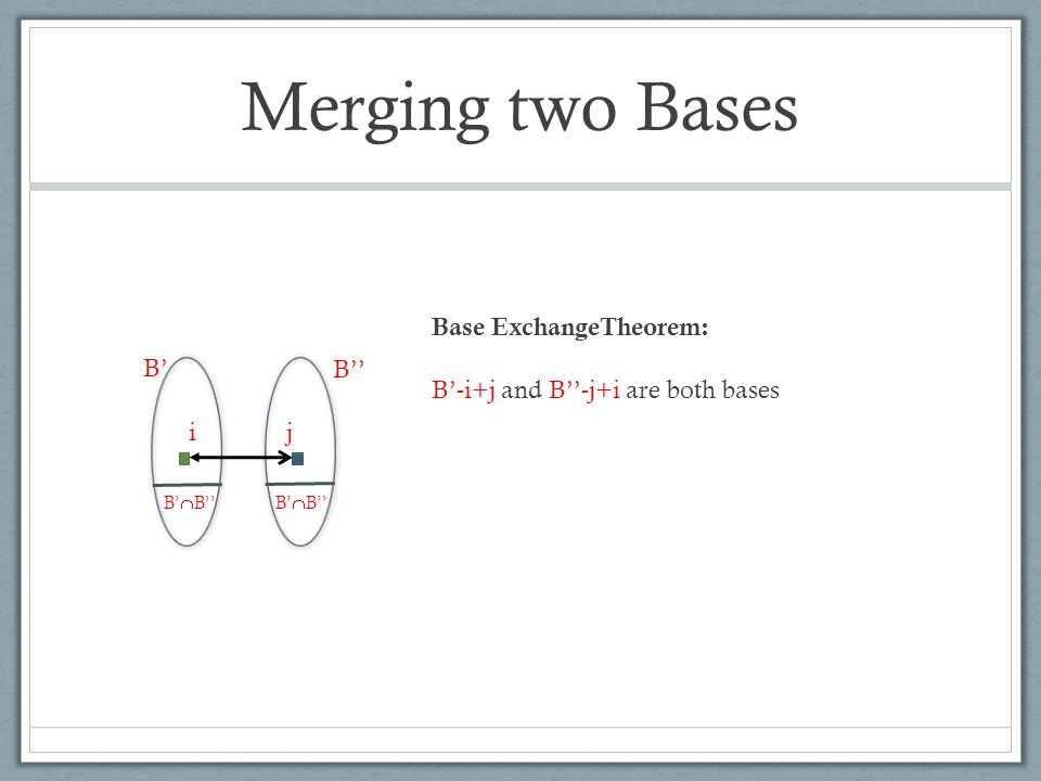 Merging two Bases B' B'' B'  B'' ij Base ExchangeTheorem: B'-i+j and B''-j+i are both bases