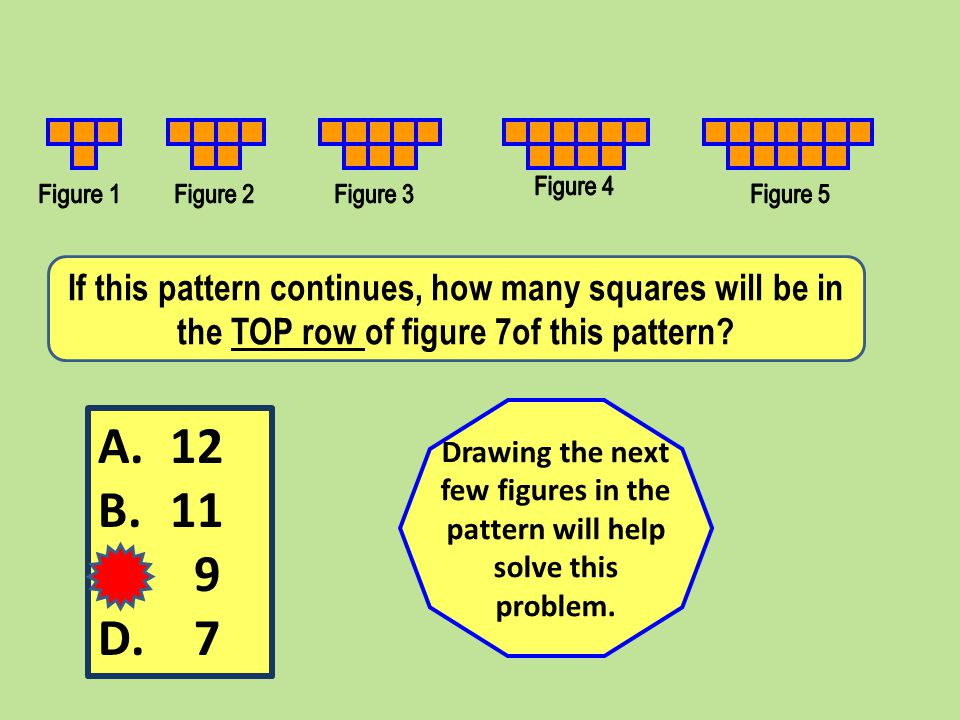 If this pattern continues, how many squares will be in the TOP row of figure 7of this pattern.