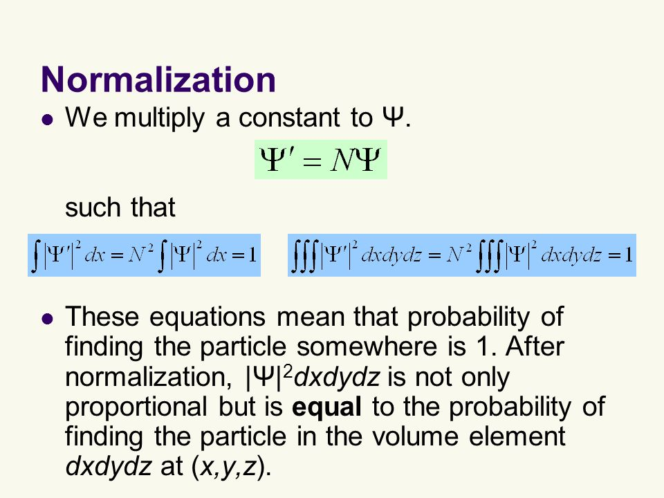 Normalization We multiply a constant to Ψ.