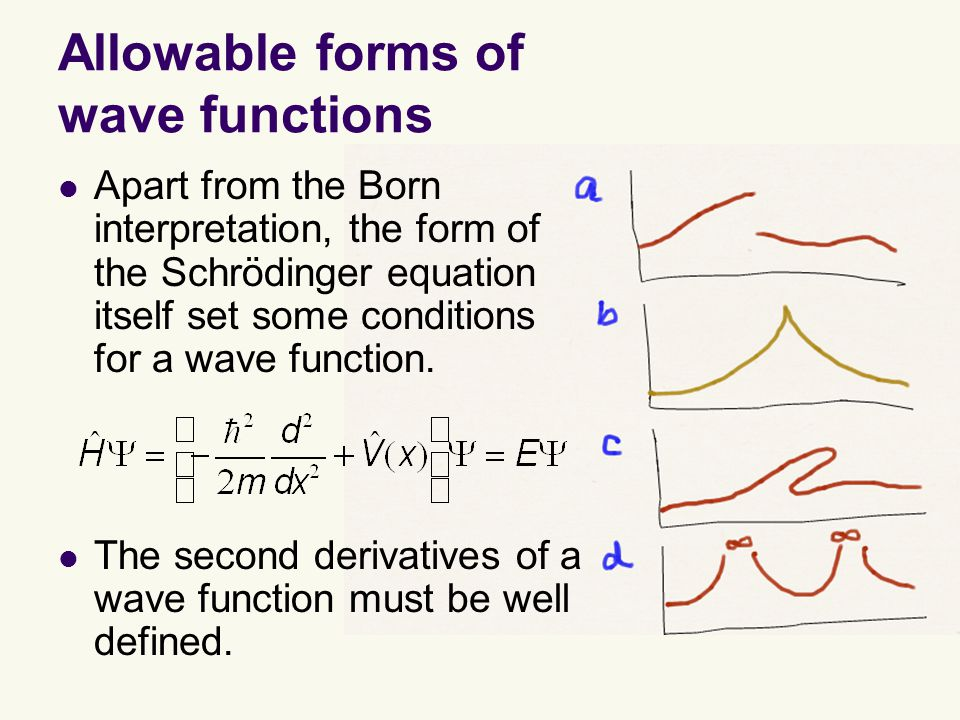 Allowable forms of wave functions Apart from the Born interpretation, the form of the Schrödinger equation itself set some conditions for a wave function.