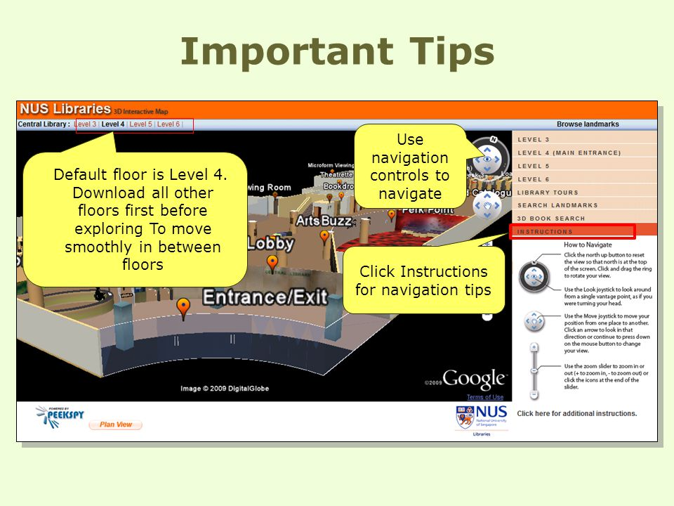 Important Tips Default floor is Level 4.