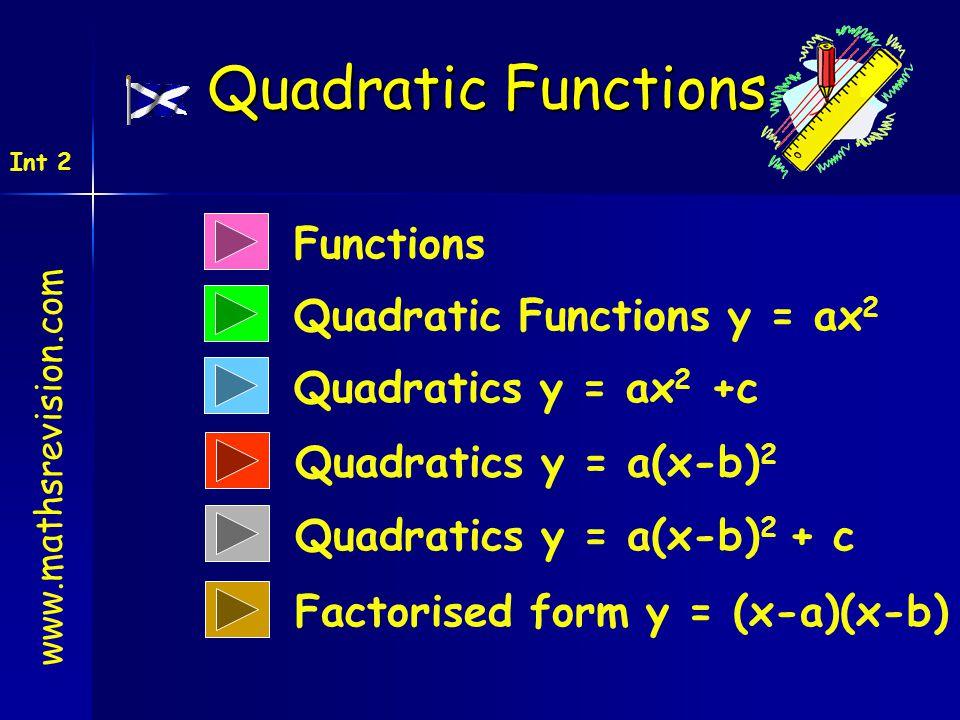 Functions Quadratic Functions y = ax 2 Quadratics y = ax 2 +c Quadratic Functions www.mathsrevision.com Int 2 Quadratics y = a(x-b) 2 Quadratics y = a