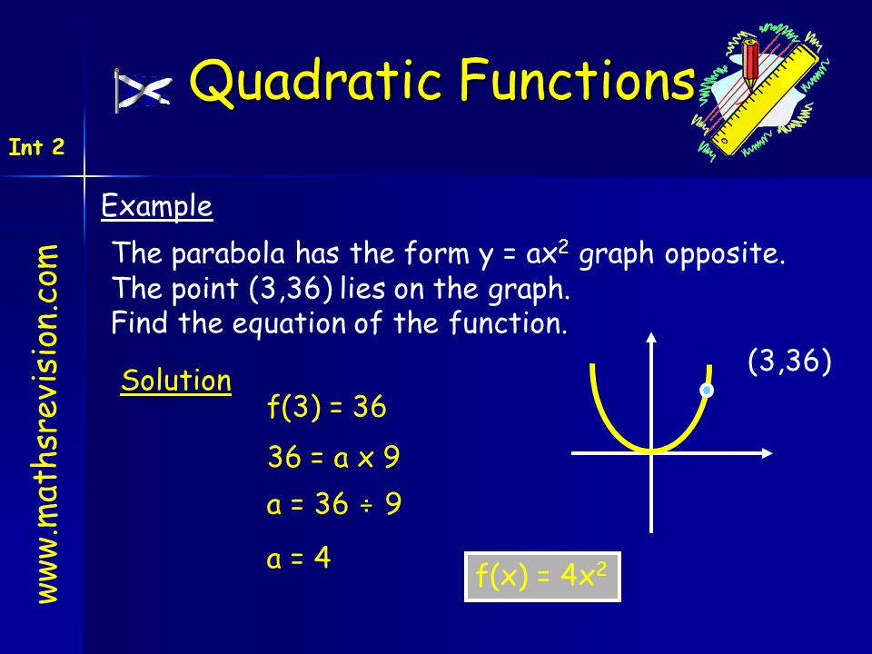 www.mathsrevision.com Int 2 Quadratic Functions Example The parabola has the form y = ax 2 graph opposite. The point (3,36) lies on the graph. Find th
