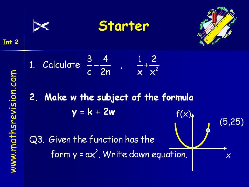Starter www.mathsrevision.com Int 2 (5,25) x f(x)