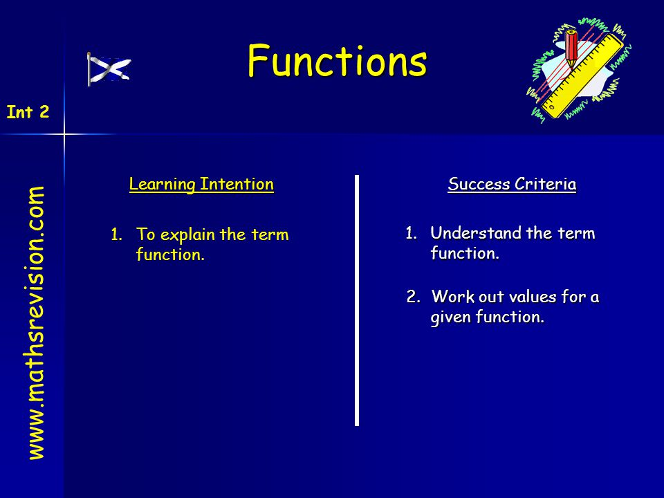 Learning Intention Success Criteria 1.Understand the term function. 1.To explain the term function. 2.Work out values for a given function. www.mathsr