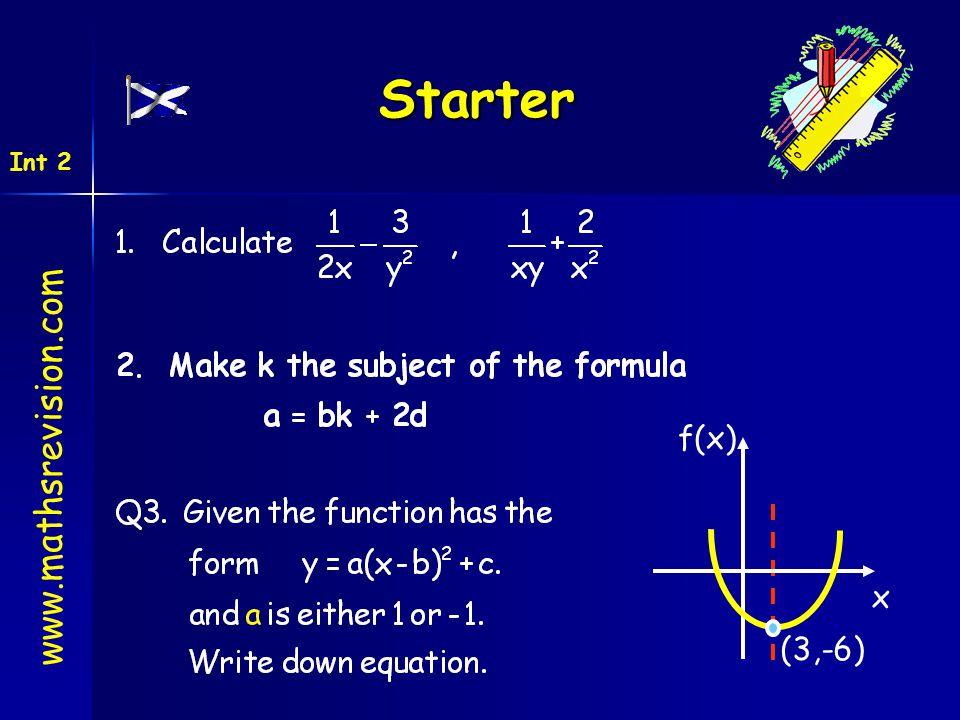 Starter www.mathsrevision.com Int 2 (3,-6) x f(x)