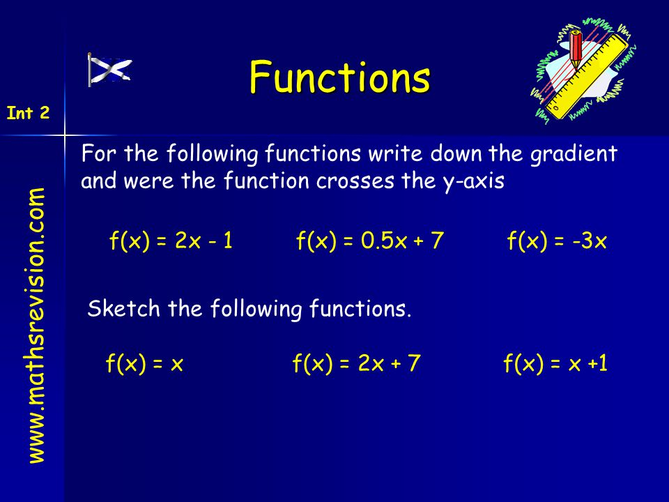 www.mathsrevision.com Int 2 Functions For the following functions write down the gradient and were the function crosses the y-axis f(x) = 2x - 1f(x) =