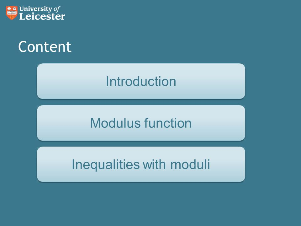 Content Inverse functions Modulus functionInequalities with moduliIntroduction