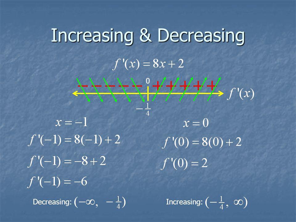Increasing & Decreasing 0 Decreasing: Increasing: