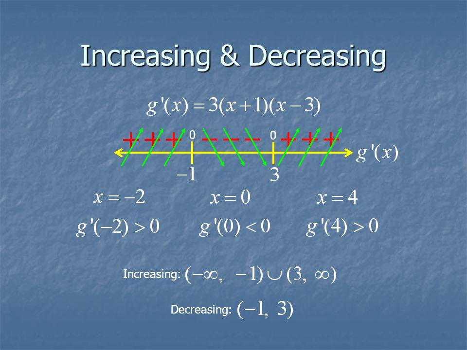 Increasing & Decreasing 0 0 Decreasing: Increasing: