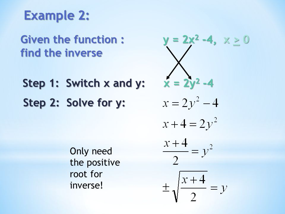 Example 2: Given the function : y = 2x 2 -4, x > 0 find the inverse Step 1: Switch x and y: x = 2y 2 -4 Step 2: Solve for y: Only need the positive ro