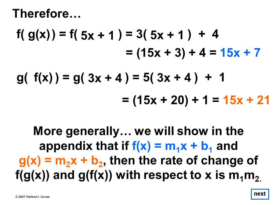 next © 2007 Herbert I. Gross Therefore… f( ) = f( ) = 3( ) + 4 More generally… we will show in the appendix that if f(x) = m 1 x + b 1 and g(x) = m 2