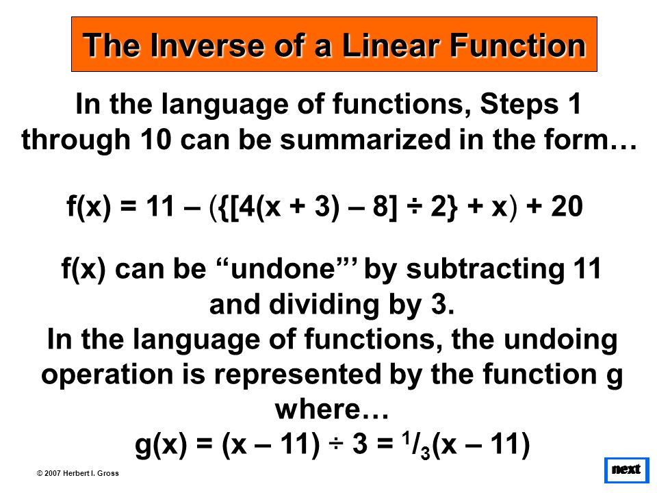 next © 2007 Herbert I. Gross In the language of functions, Steps 1 through 10 can be summarized in the form… The Inverse of a Linear Function f(x) = 1