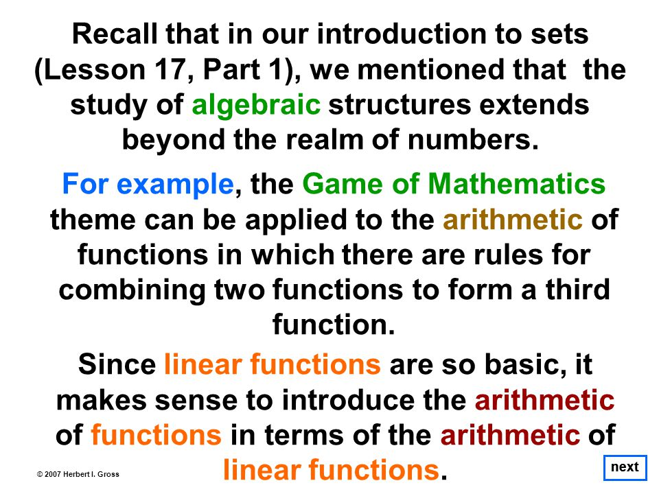 The Composition of Two Functions That is, we start with x, run it through the f-machine to obtain 3x as the output; and then run 3x through the g-machine.