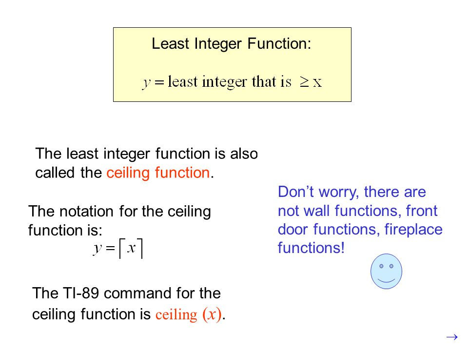 The least integer function is also called the ceiling function.