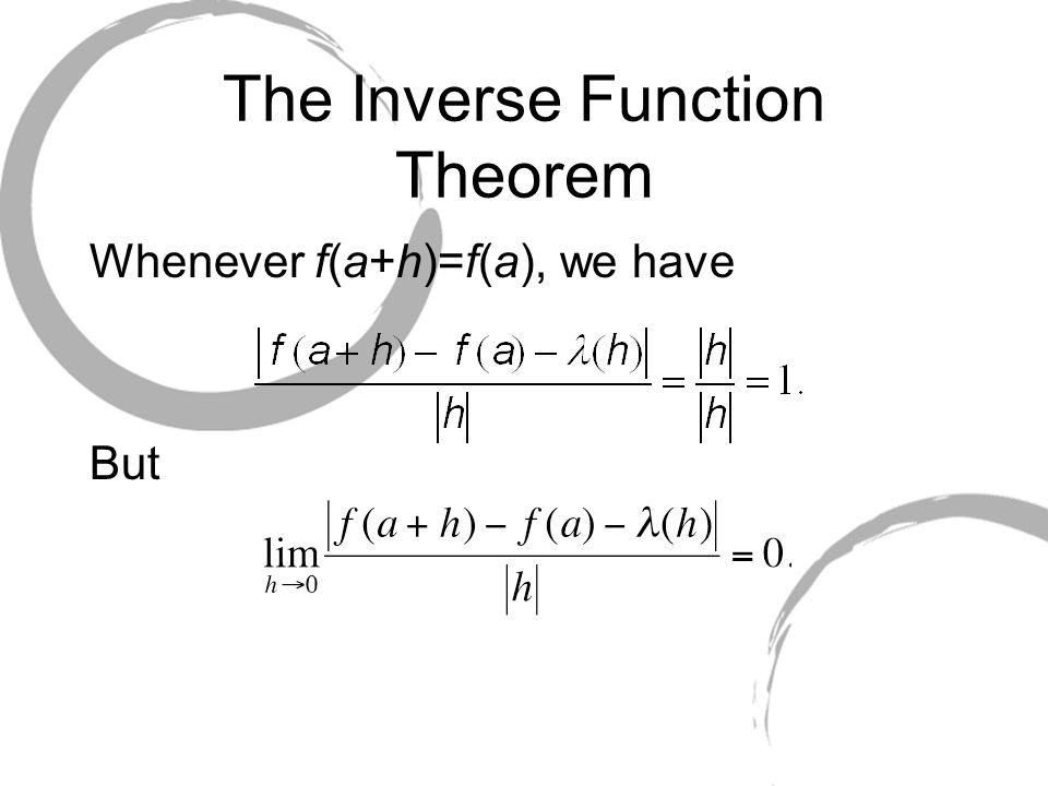 The Inverse Function Theorem Whenever f(a+h)=f(a), we have But