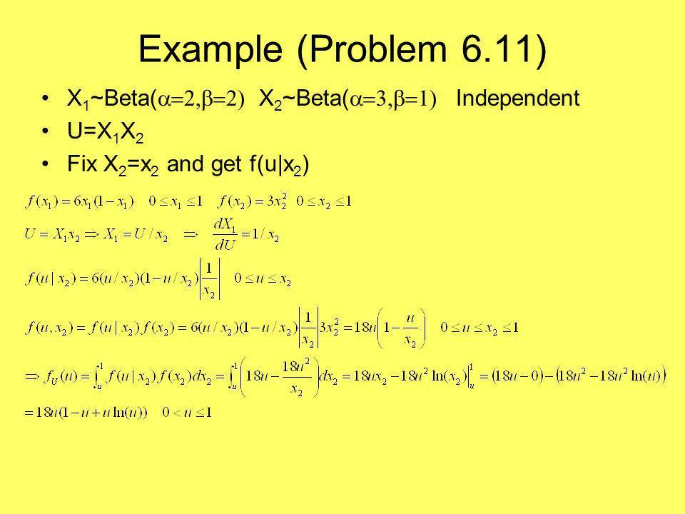 Example (Problem 6.11) X 1 ~Beta(  X 2 ~Beta(  Independent U=X 1 X 2 Fix X 2 =x 2 and get f(u|x 2 )