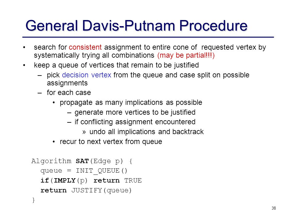 38 General Davis-Putnam Procedure search for consistent assignment to entire cone of requested vertex by systematically trying all combinations (may b
