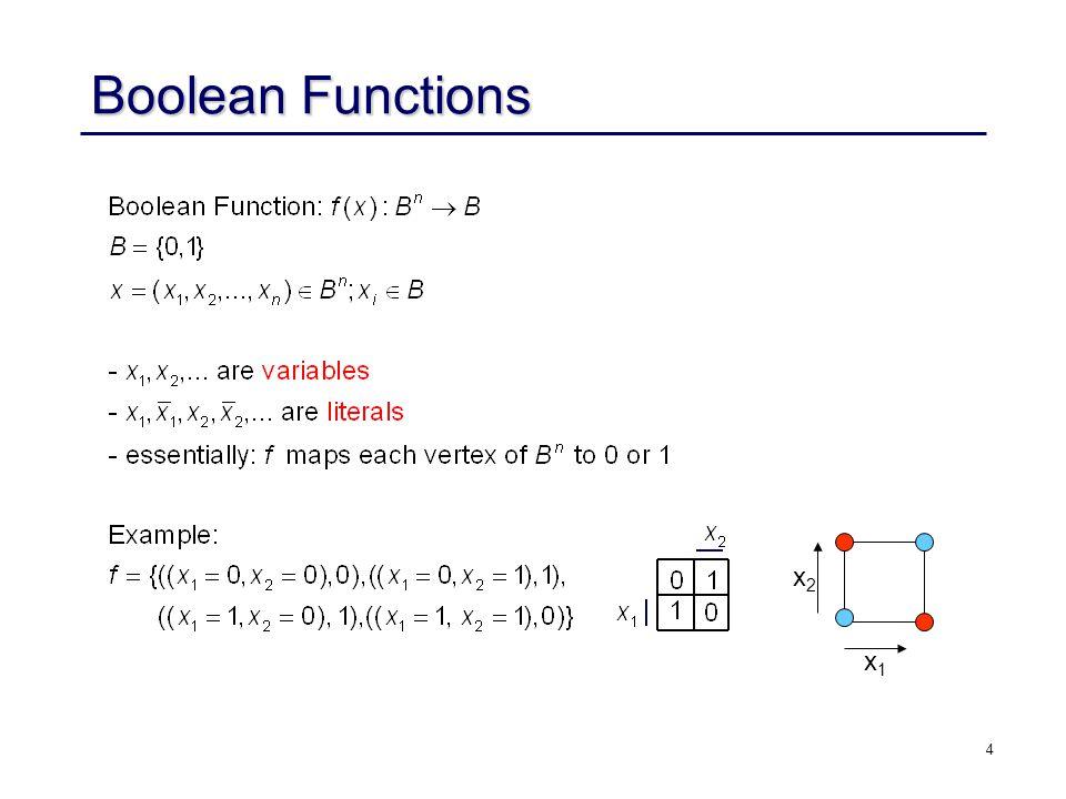 4 Boolean Functions x2x2 x1x1
