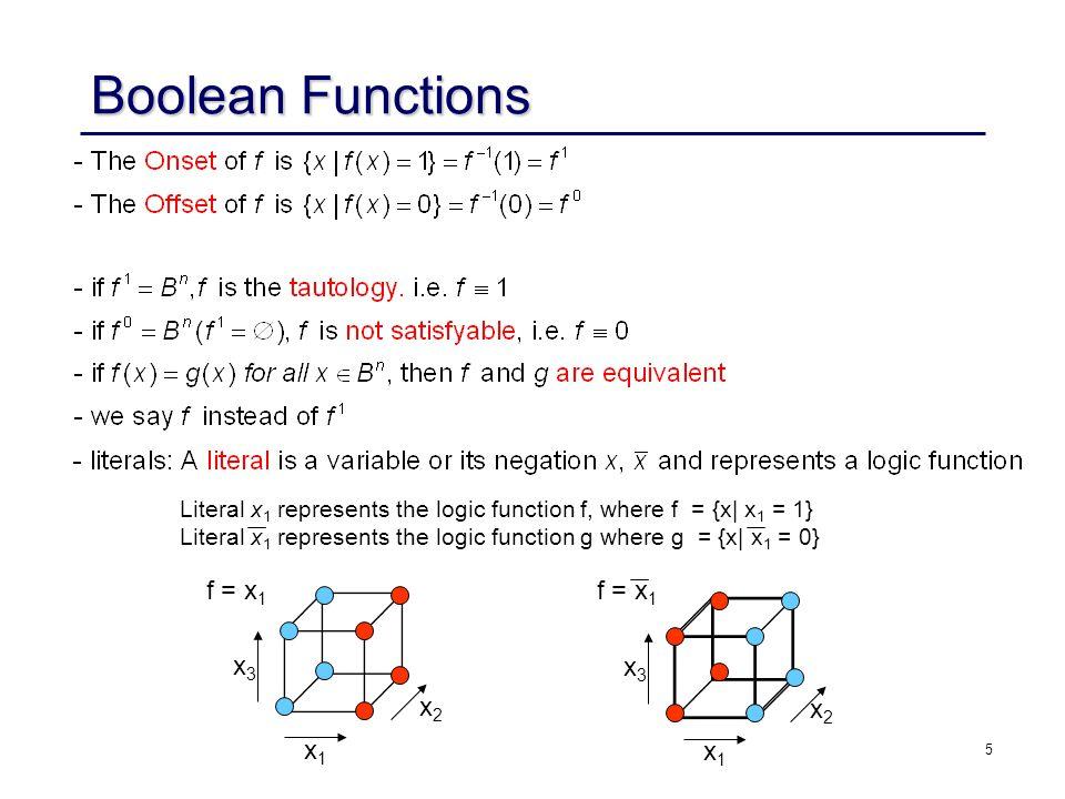 5 Literal x 1 represents the logic function f, where f = {x| x 1 = 1} Literal x 1 represents the logic function g where g = {x| x 1 = 0} x3x3 x1x1 x2x