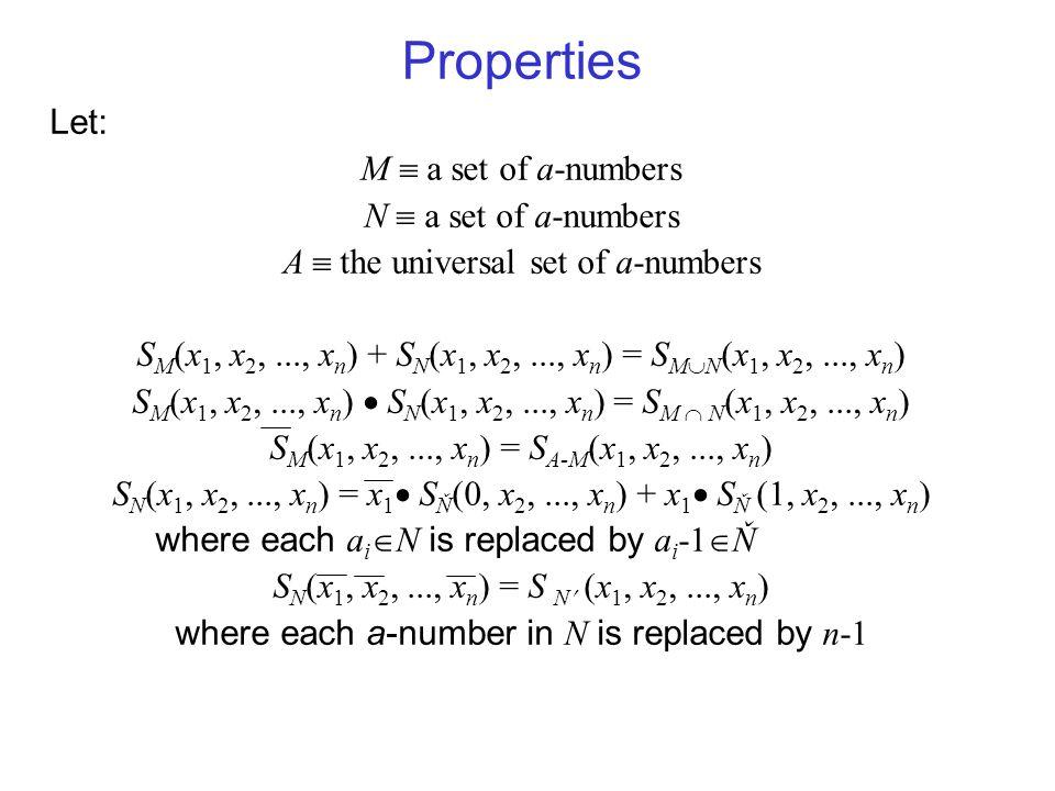 Properties Let: M  a set of a-numbers N  a set of a-numbers A  the universal set of a-numbers S M (x 1, x 2,..., x n ) + S N (x 1, x 2,..., x n ) =