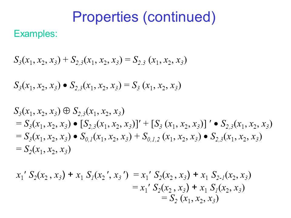 Properties (continued) Examples: S 3 (x 1, x 2, x 3 ) + S 2,3 (x 1, x 2, x 3 ) = S 2.3 (x 1, x 2, x 3 ) S 3 (x 1, x 2, x 3 )  S 2,3 (x 1, x 2, x 3 )