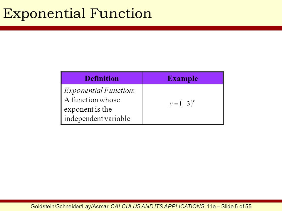 Goldstein/Schneider/Lay/Asmar, CALCULUS AND ITS APPLICATIONS, 11e – Slide 6 of 55 Properties of Exponential Functions