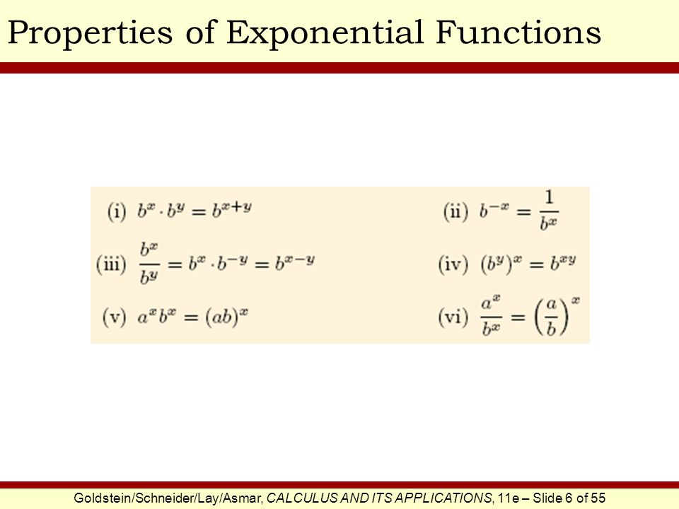 Goldstein/Schneider/Lay/Asmar, CALCULUS AND ITS APPLICATIONS, 11e – Slide 7 of 55 Simplifying Exponential ExpressionsEXAMPLE SOLUTION Write each function in the form 2 kx or 3 kx, for a suitable constant k.
