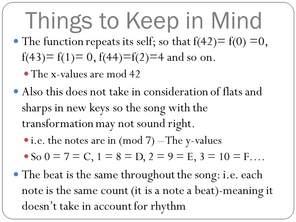 Things to Keep in Mind The function repeats its self; so that f(42)= f(0) =0, f(43)= f(1)= 0, f(44)=f(2)=4 and so on.