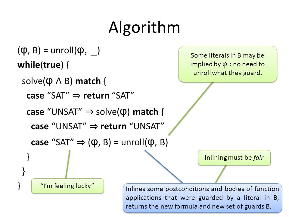 Algorithm ( φ, B) = unroll( φ, _ ) while(true) { solve( φ ∧ B) match { case SAT ⇒ return SAT case UNSAT ⇒ solve( φ ) match { case UNSAT ⇒ return UNSAT case SAT ⇒ ( φ, B) = unroll( φ, B) } Inlines some postconditions and bodies of function applications that were guarded by a literal in B, returns the new formula and new set of guards B.
