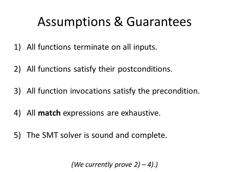 Assumptions & Guarantees 1)All functions terminate on all inputs.