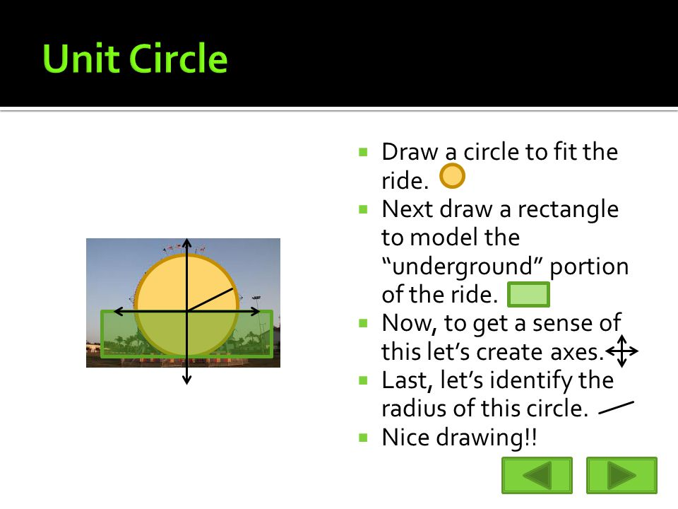 " Draw a circle to fit the ride.  Next draw a rectangle to model the ""underground"" portion of the ride.  Now, to get a sense of this let's create ax"