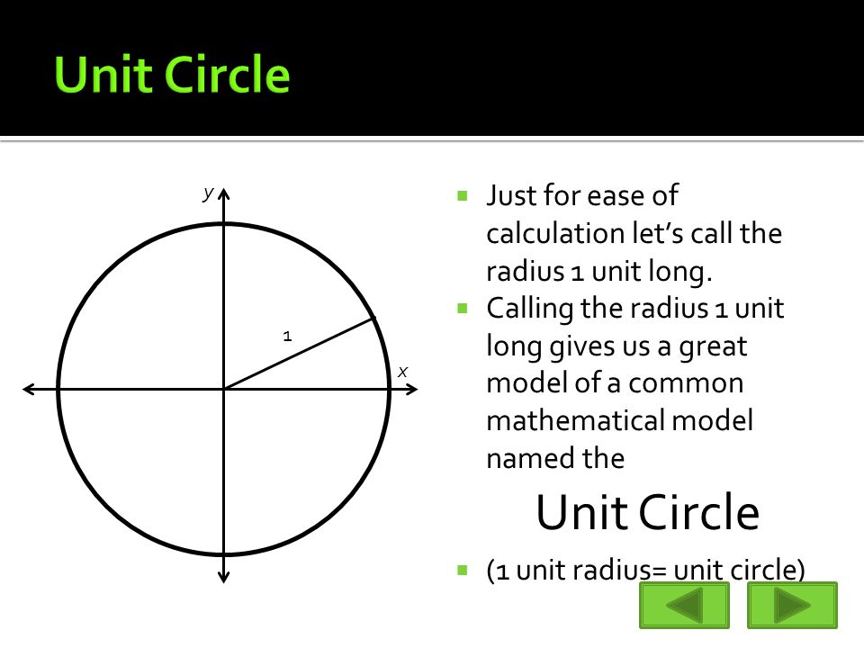  Just for ease of calculation let's call the radius 1 unit long.  Calling the radius 1 unit long gives us a great model of a common mathematical mod
