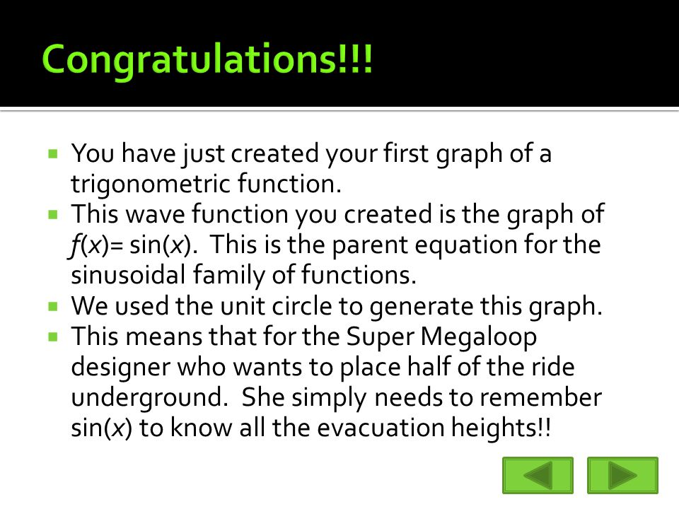  You have just created your first graph of a trigonometric function.