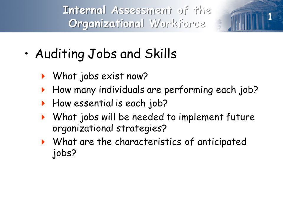 Internal Assessment of the Organizational Workforce Auditing Jobs and Skills  What jobs exist now.