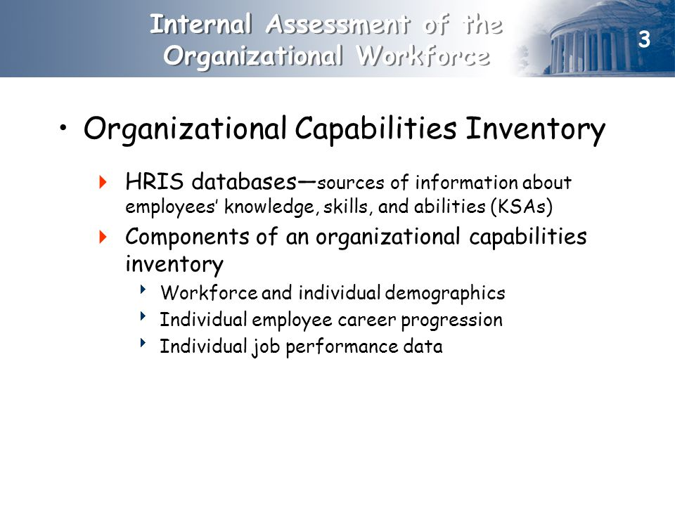Organizational Capabilities Inventory  HRIS databases— sources of information about employees' knowledge, skills, and abilities (KSAs)  Components of an organizational capabilities inventory  Workforce and individual demographics  Individual employee career progression  Individual job performance data Internal Assessment of the Organizational Workforce 3