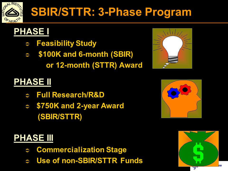SBIR AND STTR PROGRAMS CRITICAL DIFFERENCES Research Partner SBIR: Permits research institution partners [Outsource ~ 33% Phase I and 50% Phase II R&D] STTR: Requires research institution partners (e.g., universities) [40% small business concerns (for-profit) and 30% U.S.
