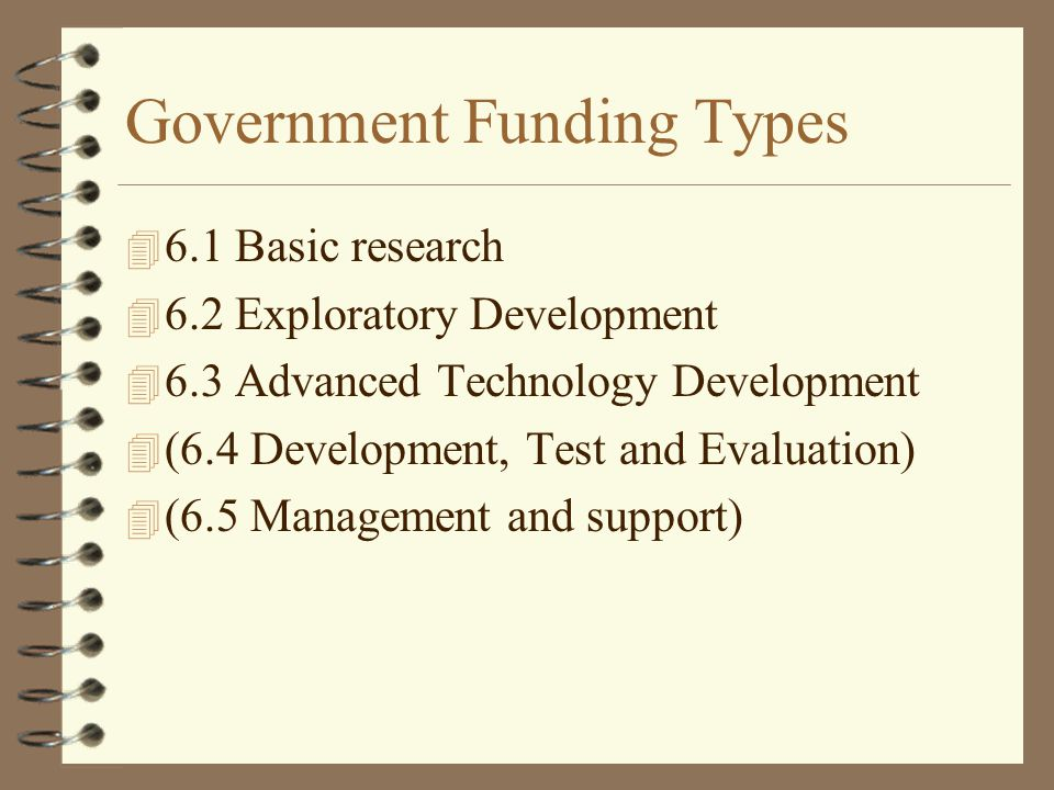 Government Funding Types 4 6.1 Basic research 4 6.2 Exploratory Development 4 6.3 Advanced Technology Development 4 (6.4 Development, Test and Evaluation) 4 (6.5 Management and support)