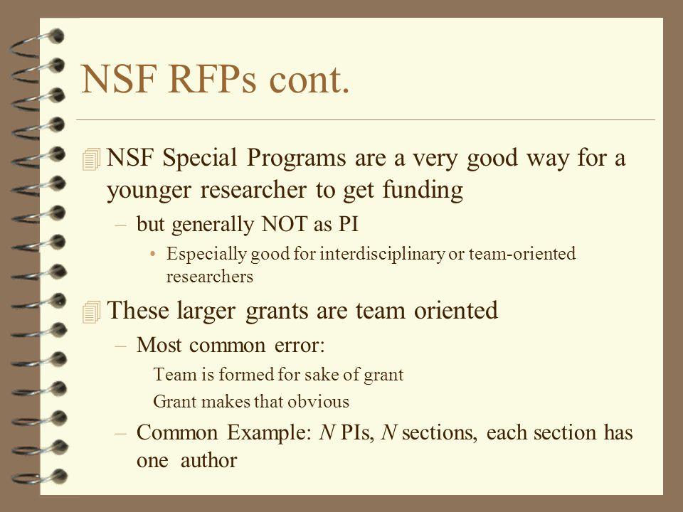 NSF RFPs cont.