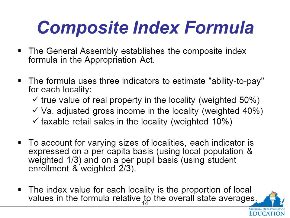 Composite Index Formula  The General Assembly establishes the composite index formula in the Appropriation Act.  The formula uses three indicators t