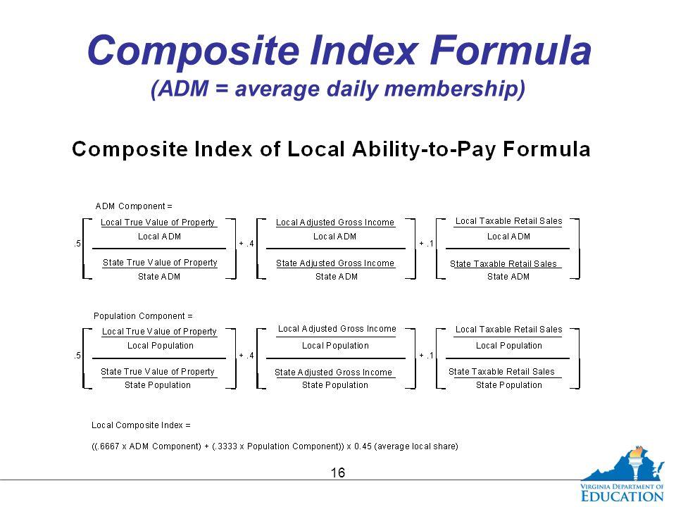Composite Index Formula (ADM = average daily membership) 16
