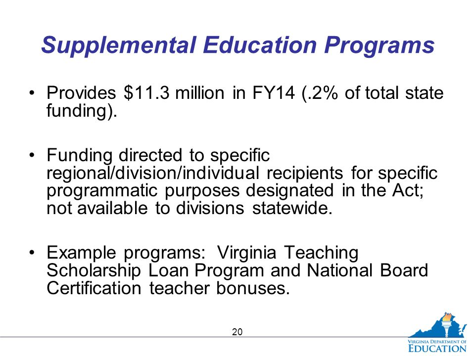 Supplemental Education Programs Provides $11.3 million in FY14 (.2% of total state funding).