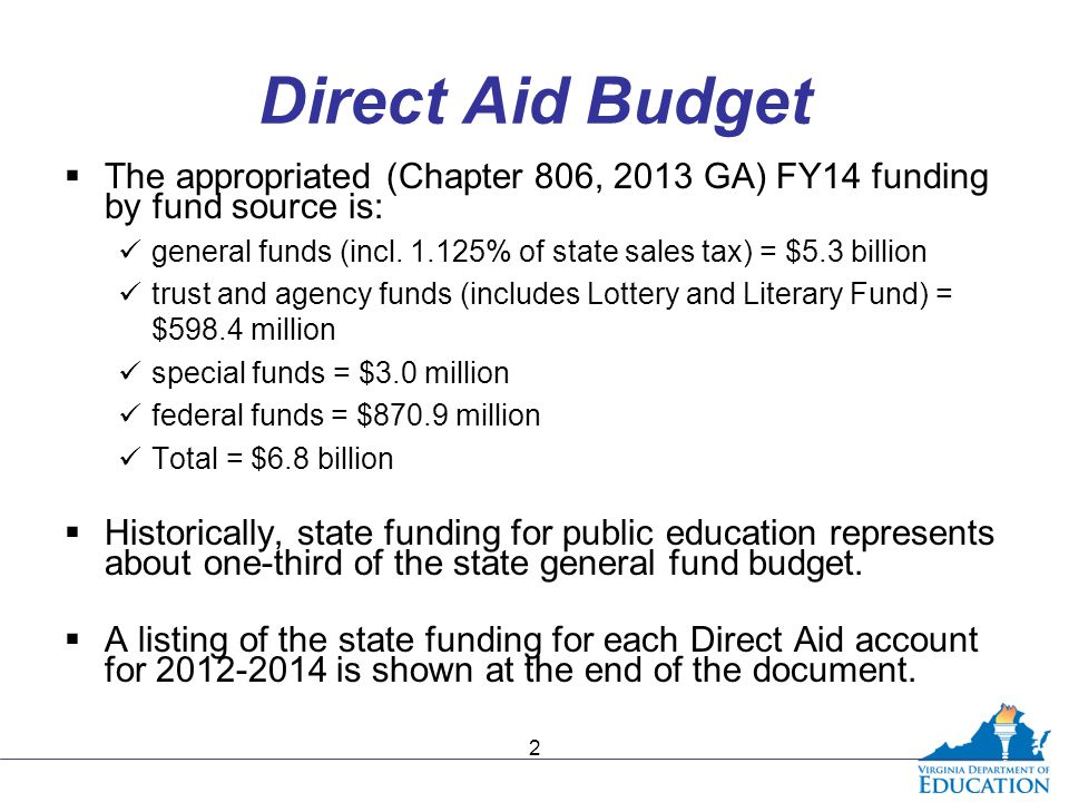  The appropriated (Chapter 806, 2013 GA) FY14 funding by fund source is: general funds (incl. 1.125% of state sales tax) = $5.3 billion trust and age